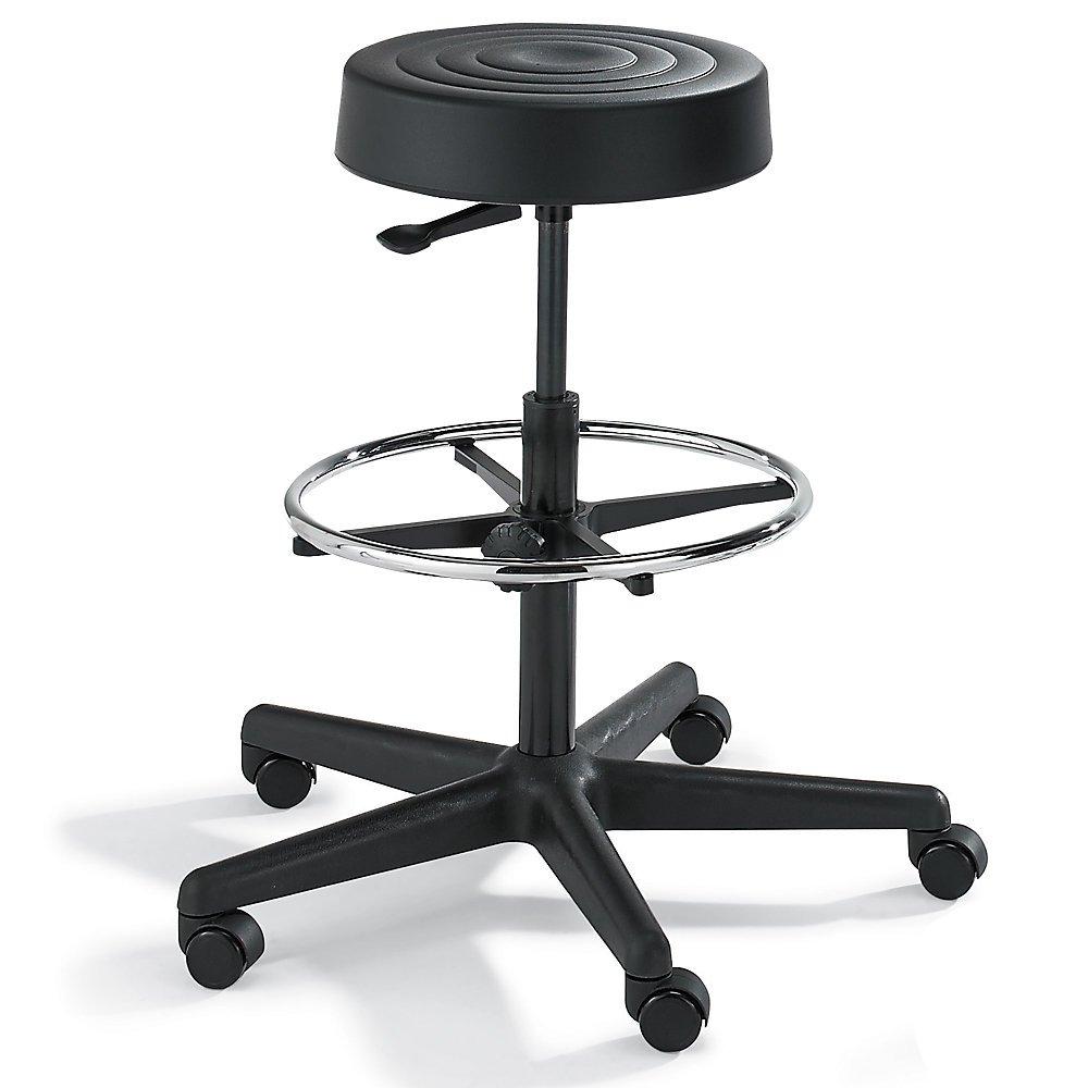 Bevco Padded Polyurethane Stool - 5-Star Black Plastic Base - 24-34'' Seat Height - Black - Black