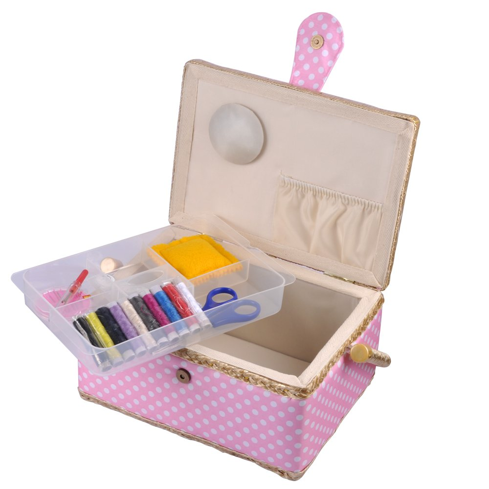 9 x 7 x 5 inches eZAKKA Sewing Basket with Sewing Kit Accessories and Plastic Tray for Beginner Mothers Day Kid Birthday Gift Boxes
