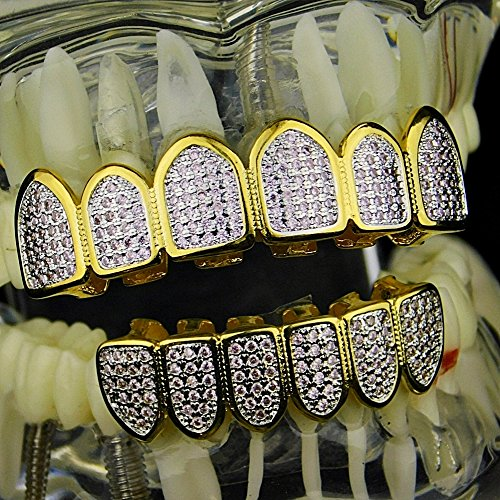 Premium Pink CZ Grillz Set 2-Tone 14K Gold Plated WIth Silver Finish Top & Bottom Bling Teeth Hip Hop Grills by Bling Cartel (Image #1)