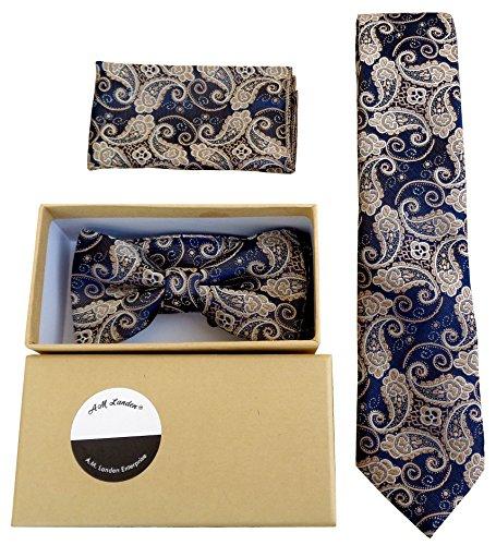 AM Landen Polyester Ties, Bowtie, Pocket Handkerchief 3pcs Best Boyfriend Gift Set(Blue Paisley )