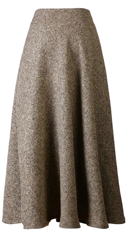 Papijam Womens Thick Wool Blend Swing Winter High Waist Long Skirt