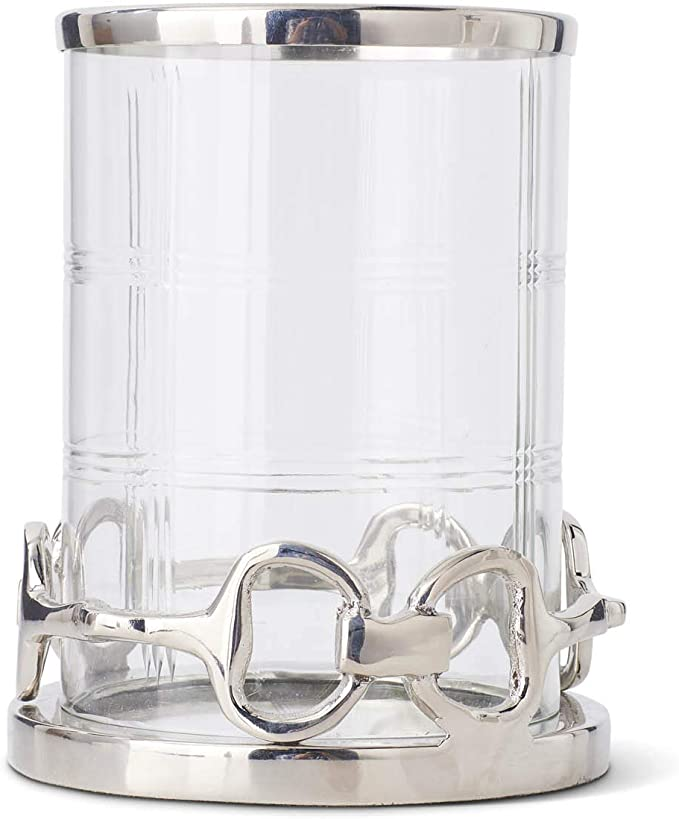 K K Interiors 15806a 2 7 75 Inch Etched Glass Hurricane With Polished Silver Link Base Home Kitchen