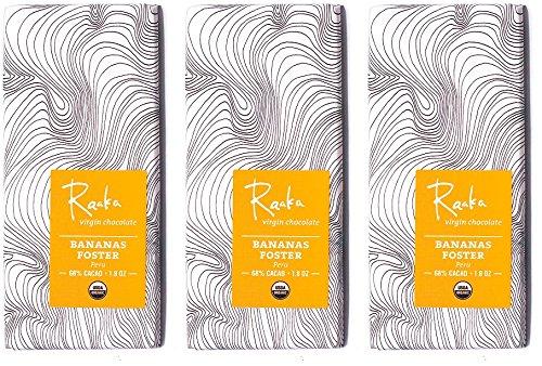 Raaka Chocolate Bananas Foster Dark Chocolate 68% Cacao (1.8oz Bar - 3 Pack), Organic, Non-GMO, Kosher Premium Craft Chocolate, Vegan, Gluten and Soy Free, Bittersweet, Bean-to-Bar Chocolate (Bananas Foster New Orleans)
