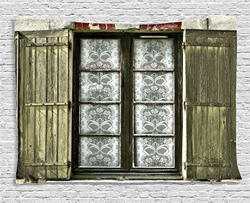 Ambesonne Shutters Decor Collection, European French Window with Antique Open Shutters Print Vintage Style Home Decor, Bedroom Living Room Dorm Wall Hanging Tapestry, 60 X 40 Inches, Brown White