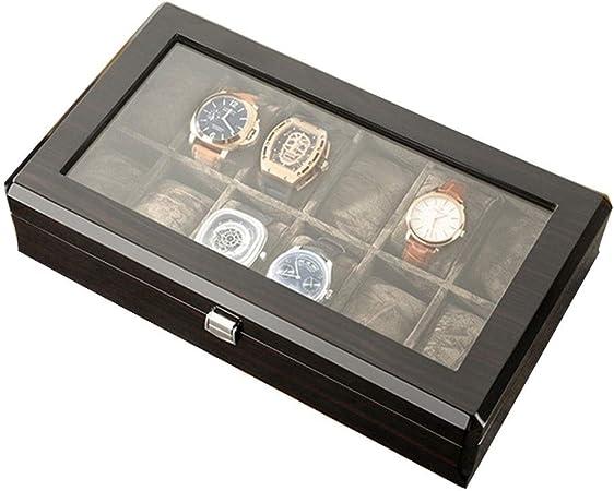 0LL Caja de Relojes, Estuche para Relojes, Organizador para Reloj, Caja para Relojes Madera Vidrio Transparente Hebilla Metálica Hecho a Mano Caja para Relojes Hombre (Color : B): Amazon.es: Hogar