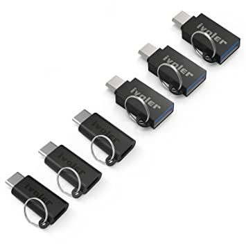 iVoler [Paquete de 6] Adaptador USB C con Arandela para Llavero, [3 Unidades] Adaptador USB C a Micro USB + [3 Unidades] USB C a USB A 3.0 Conector ...