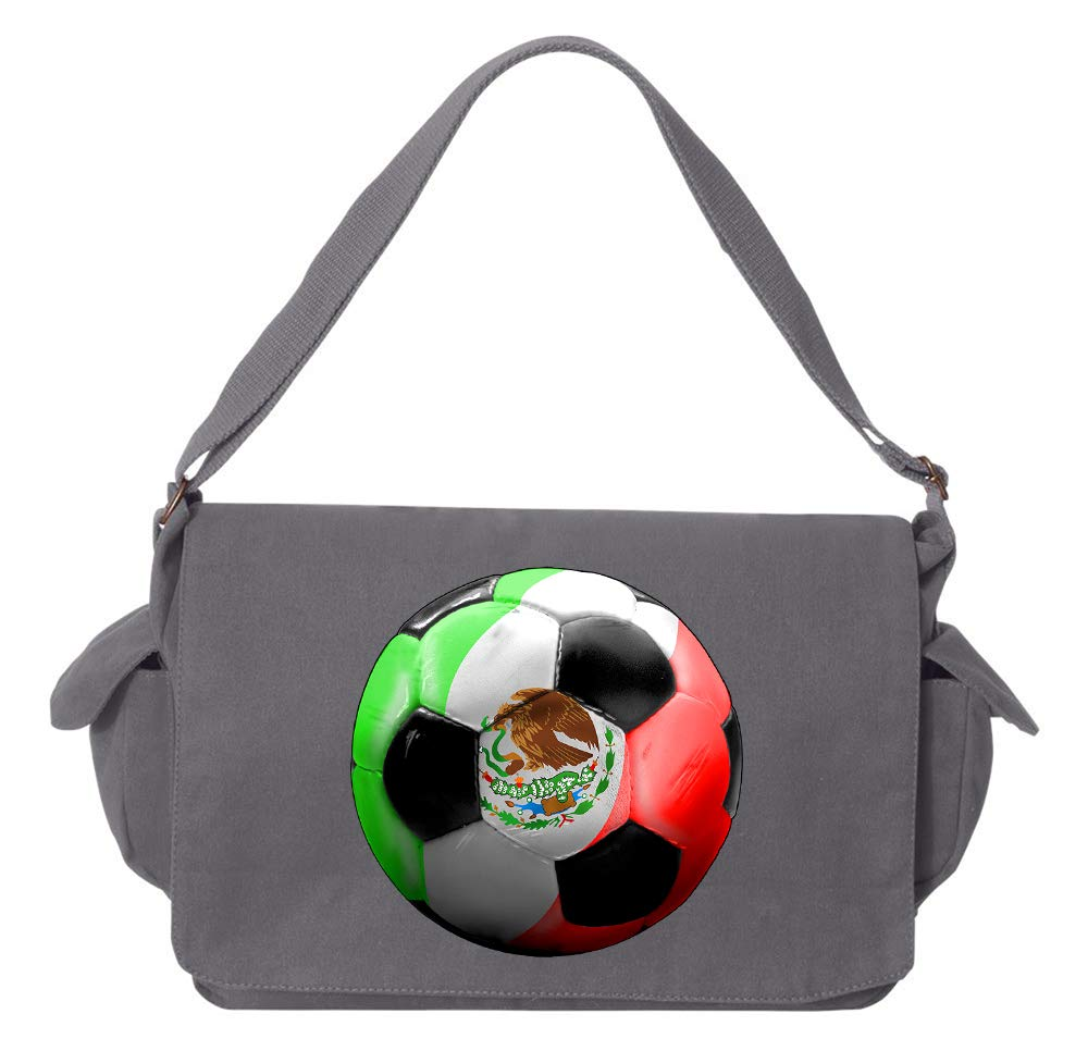 Tenacitee Mexico Soccer Navy Brushed Canvas Messenger Bag