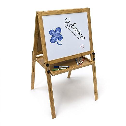 Relaxdays- Pizarra Infantil + Caballete, magnetizada, 93 x 56.5 x 56.5 cm, Altura Ajustable, Color Blanco (10019037_49)