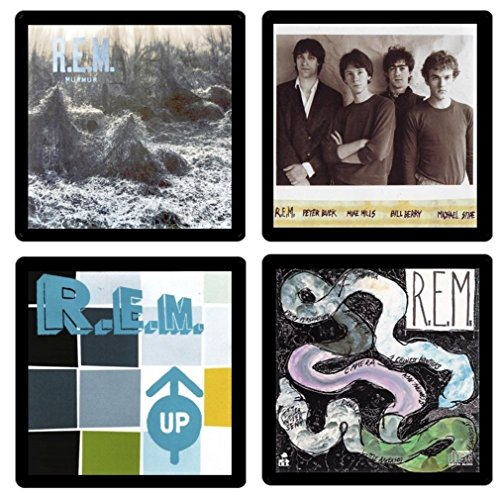 R.E.M. REM - Collectible Coaster Gift Set #1 ~ (4) Different Album Covers Reproduced on Soft Pliable Coasters