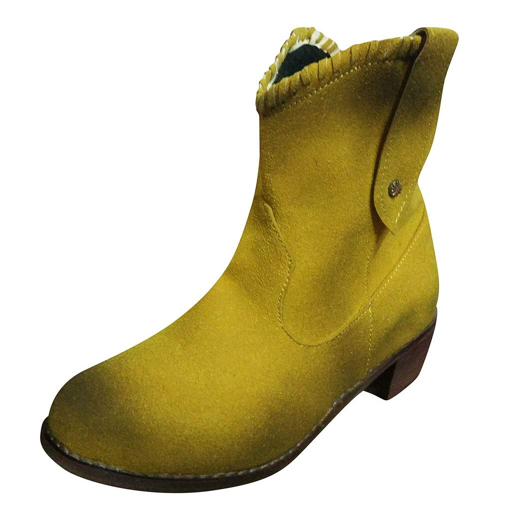 Womens Pointed Toe Short Booties Chunky Heel Thick Ankle Boots Plus Size Scrub Single Boots Slip-on Shoes 5.5-10.5 (US:9, Yellow) by Aritone - Women Shoes