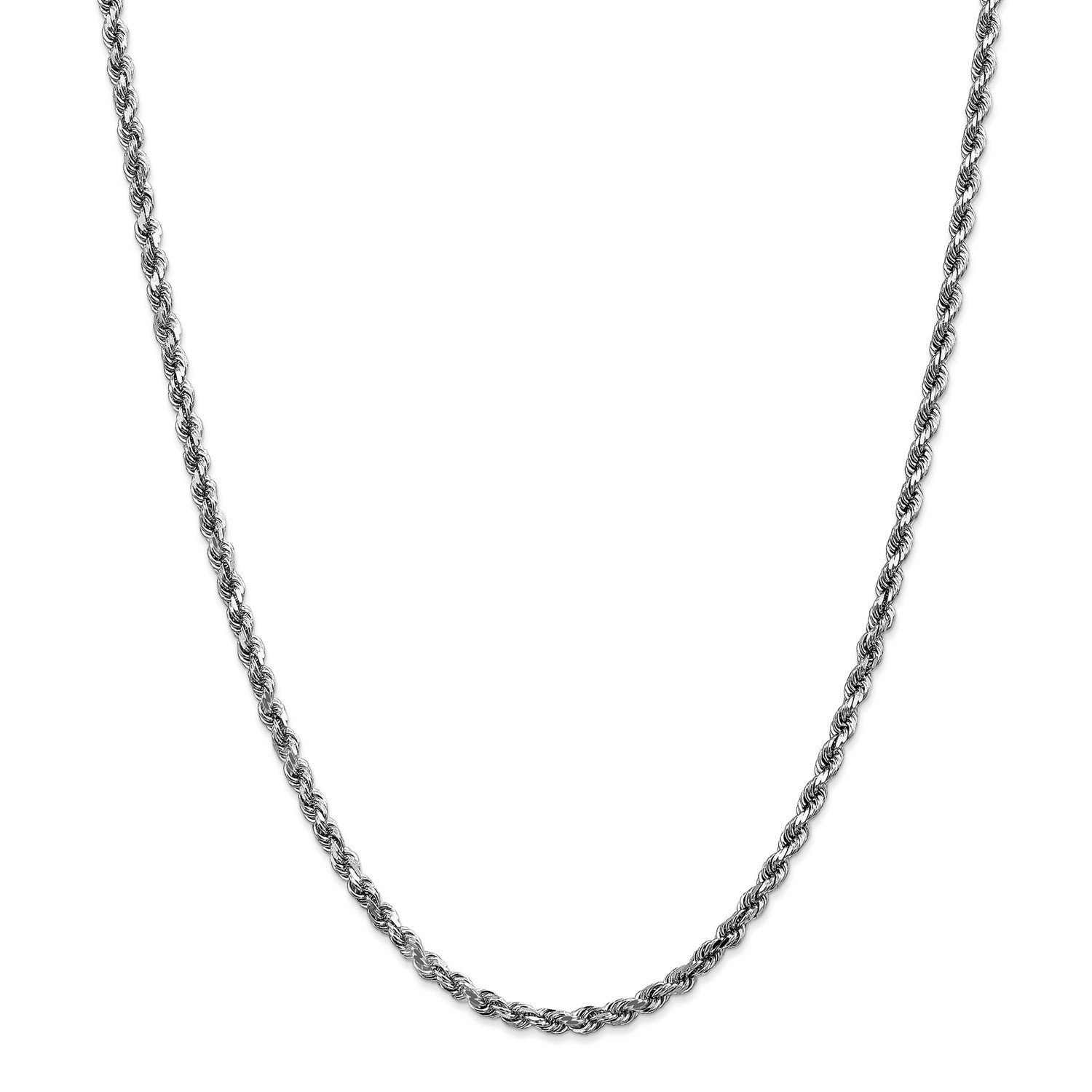 Roy Rose Jewelry 14K White Gold 3.5mm Diamond-cut Rope Chain Necklace ~ Length 22'' inches