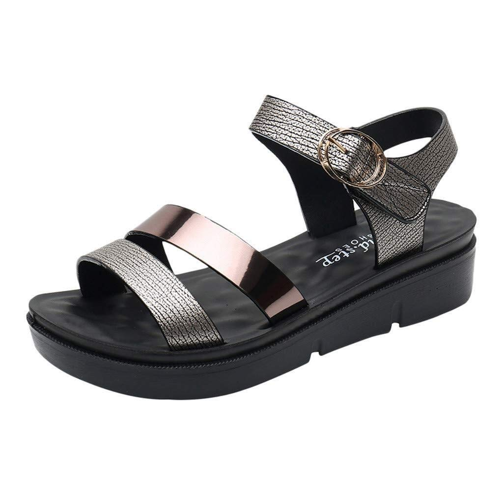 Hermia Women's Summer Sandal Fashion Leather Sandals Wedges Comfort Big Size Shoes Minimalist Student Sandals (Color : Gray, Size : 5.5 M US) by Hermia