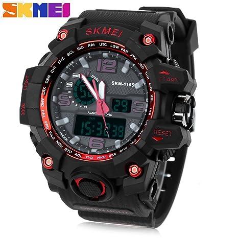 SKMEI 1155 hombres doble movimiento reloj agua resistencia Dual Time día alarma luz reloj de pulsera