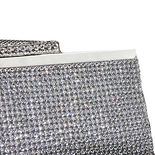 crystals Long metal bag women shining hand elegant party style with Hand chain bag for bag diamonds with Plata vSxqII8w