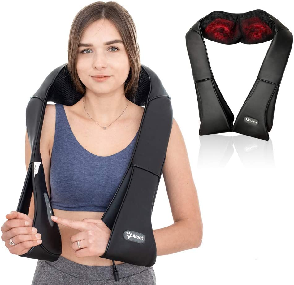 Aront Neck Back Shoulder Massager with Heat-Electric Shiatsu Shoulder Massagers with Deep Tissue Kneading Massage for Muscles Pain Relief,Use at Home,Car,Office-Gifts for Women Friends Birthday