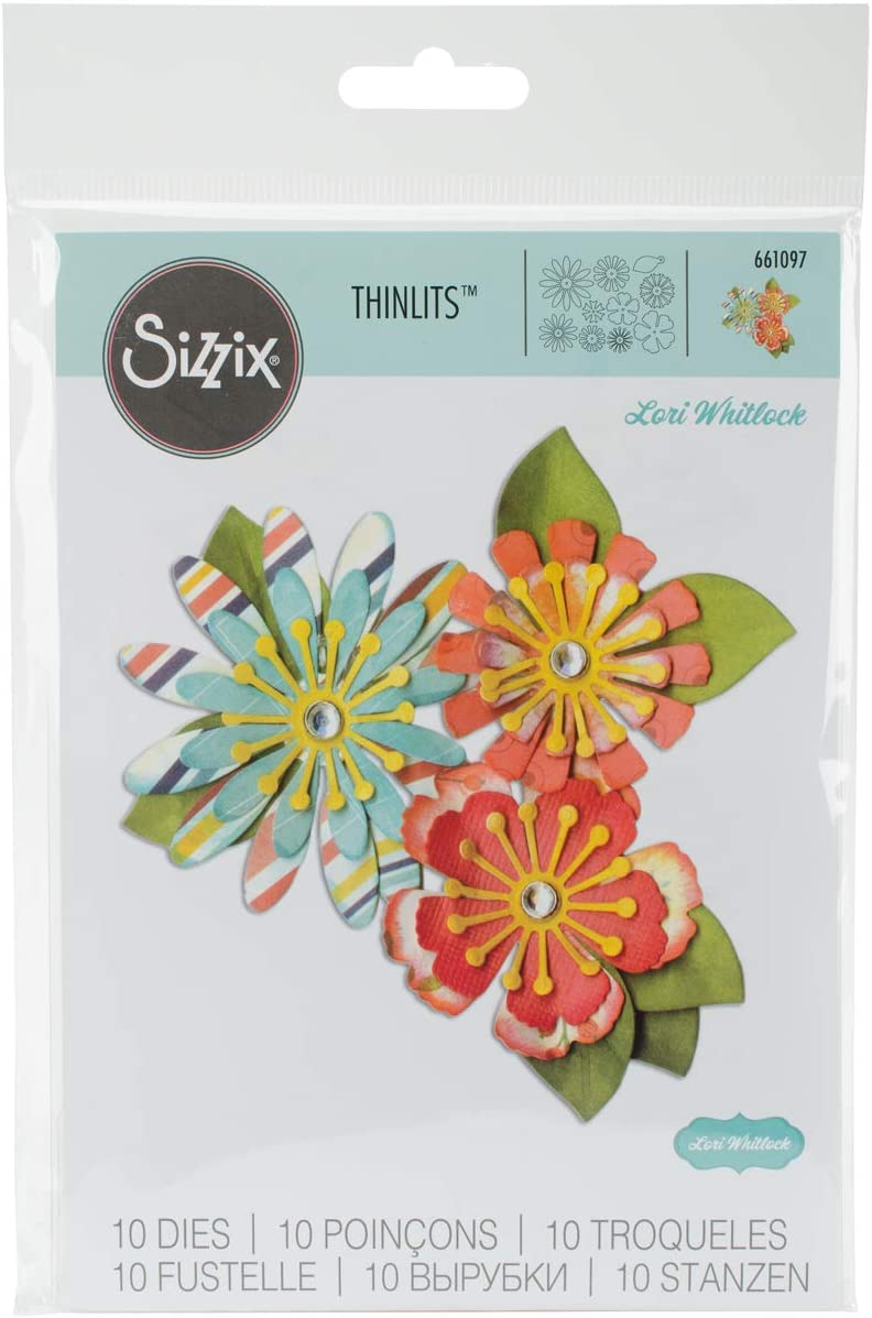 Sizzix, Multi Color, Thinlits Die Set 661097, Flowers by Lori Whitlock, 10 Pack, One Size