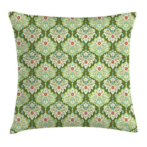 Victorian Figure (Shabby Chic Throw Pillow Cushion Cover by Ambesonne, Victorian Style Baroque Floral Figures Rococo Inspired Flourish Design Artprint, Decorative Square Accent Pillow Case, 18 X18 Inches, Green Mint)