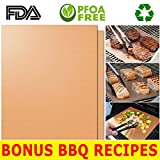 HQS Copper Grill Mat Set of 2 - Non-stick BBQ Grilling & Baking Sheets- Golden Grill Mats Reusable & Easy to Clean - For Charcoal, Electric and Gas Grills, As Seen On TV FREE BBQ/Grill Recipes