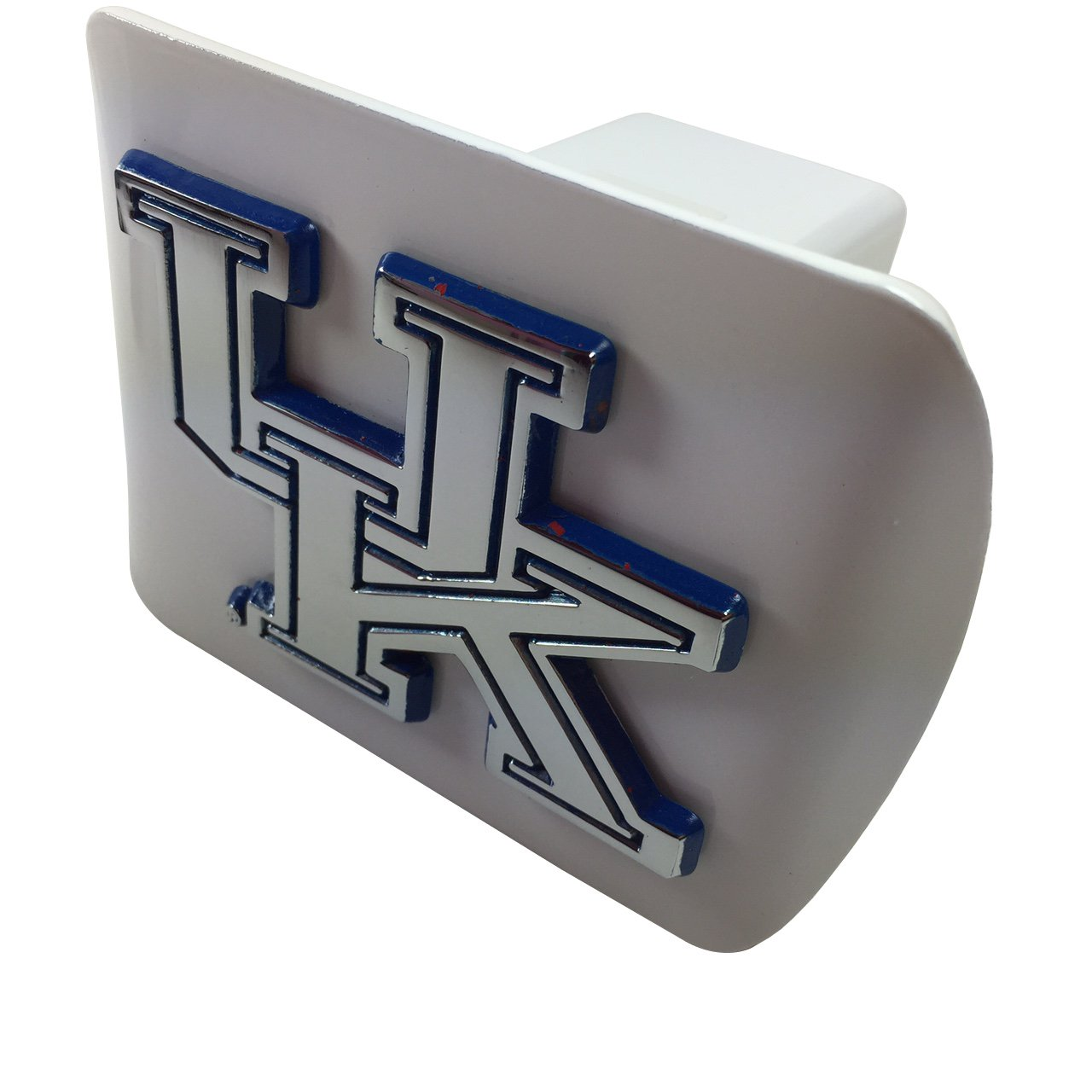 on WHITE metal Hitch Cover AMG chrome with royal blue trim University of Kentucky METAL emblem