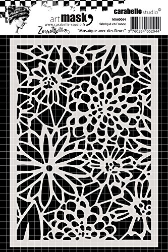 Carabelle Studio Art Mask Stencil, Floral Mosaic, for Creating Patterned Backgrounds and Artwork for Craft Projects, Multi-Colored, One Size