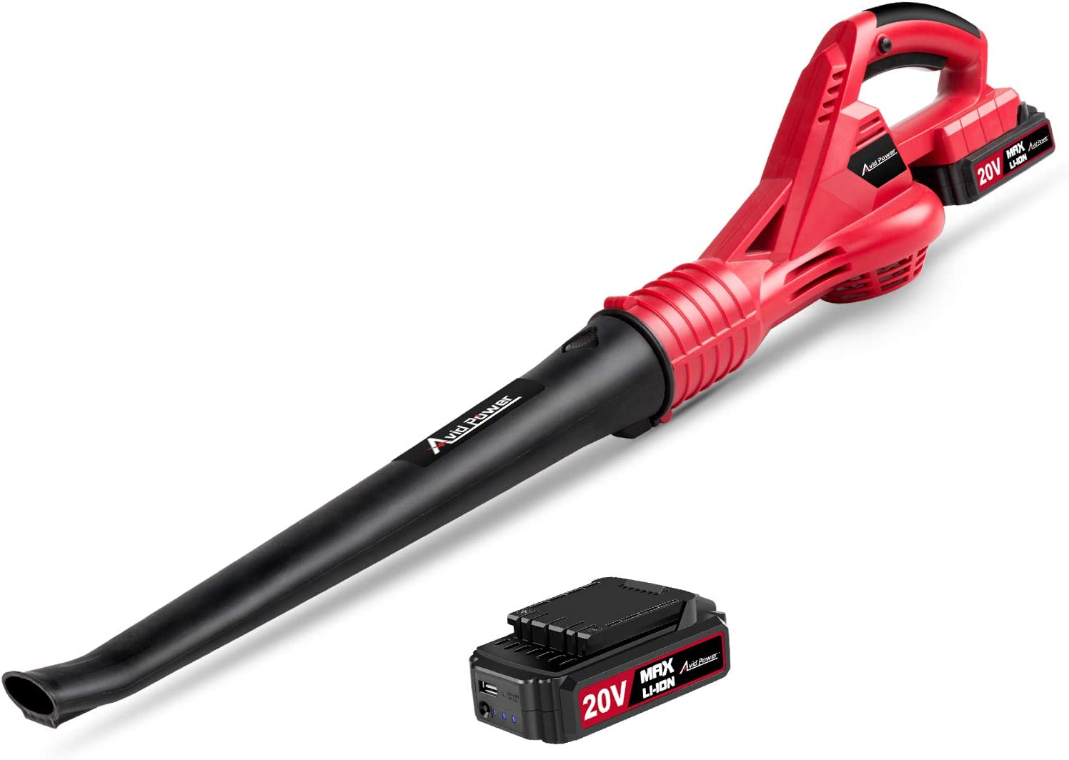 Avid Power Cordless Leaf Blower, 20V MAX Lithium Cordless Sweeper with 130 MPH Output, 2.0 Ah Battery & Charger Included, ACVB220