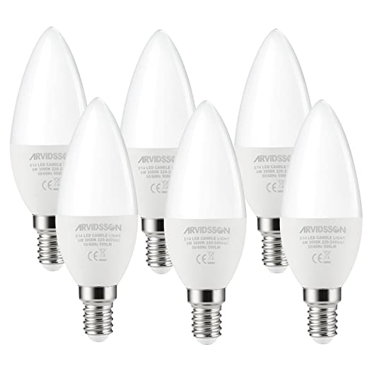 ARVIDSSON E14 LED Candle Light Bulb 6W 500LM 3000K Warmwhite, Replaces OLD  60W Incandescent And