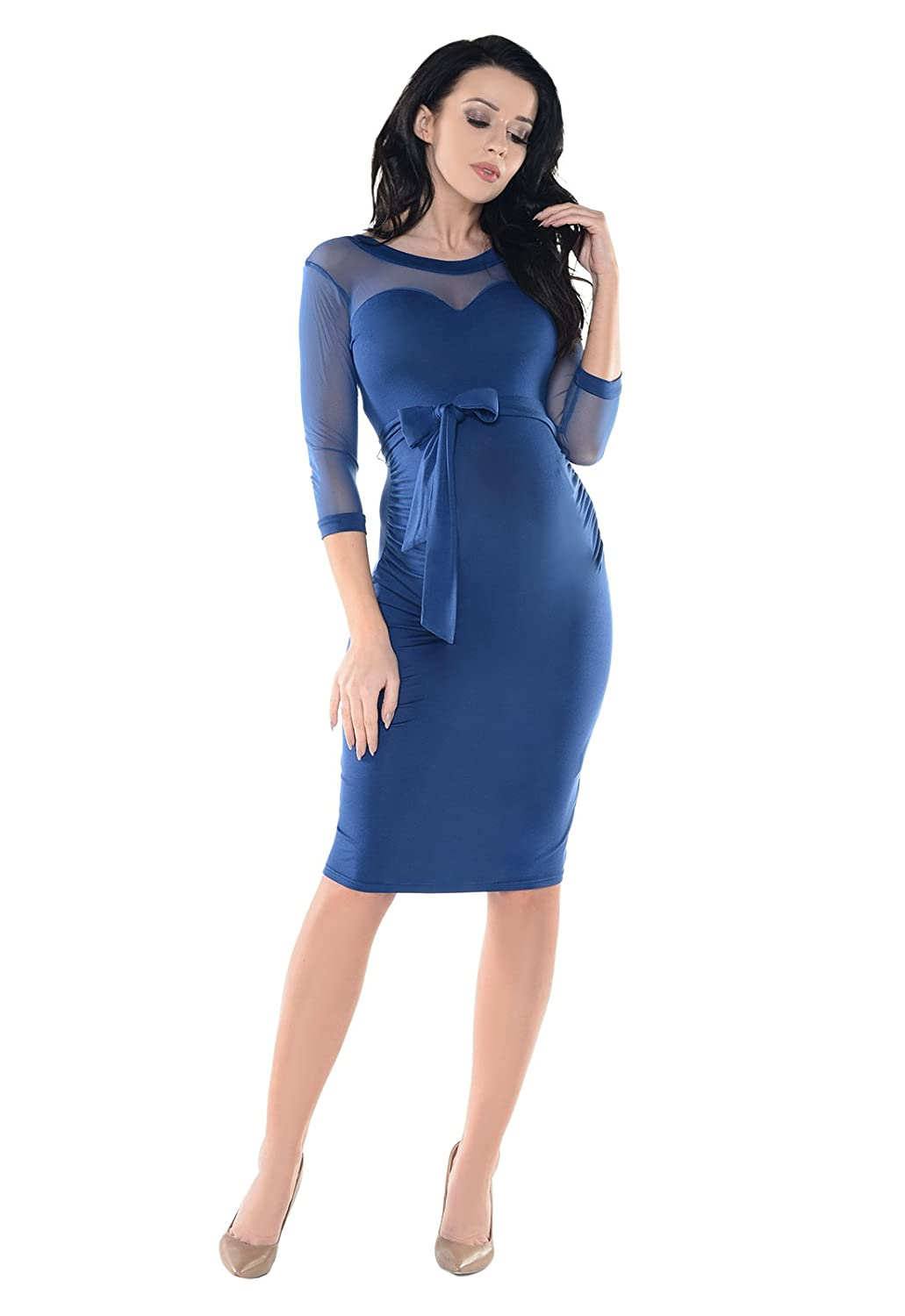 Purpless Maternity Ruched Bodycon Pregnancy Dress with Sheer Mesh Panel D008