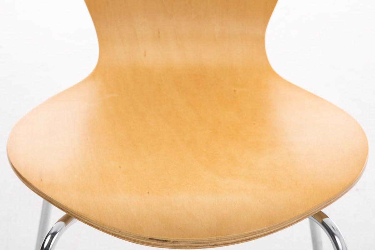 CLP Set de 4 Sillas Comedor Calisto I Juego de 4X Sillas de Cocina con Asiento de Madera I 4X Sillas de Visitas Apilables I Color: Lila Madera Natural