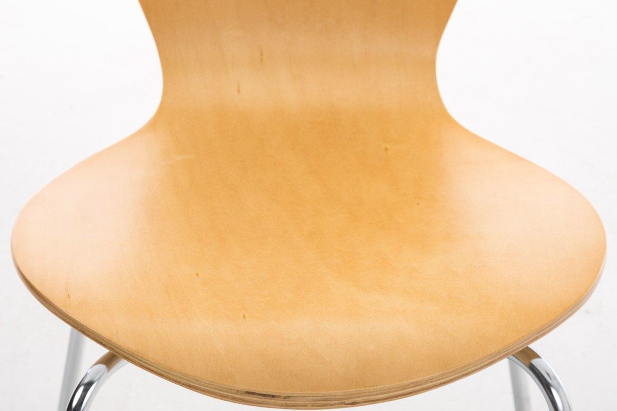 Sedia Classica Riunioni CLP Set 2 Sedie Impilabili Calisto con Seduta in Legno e Telaio in Metallo Altezza Seduta 45 cm Natura Facile da Pulire Sedia Conferenza Salvaspazio