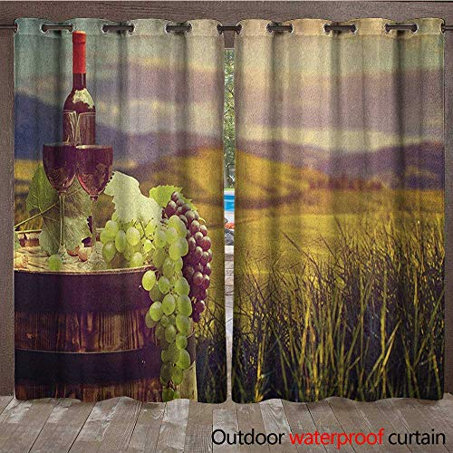 BlountDecor Wine Indoor Outdoor Curtain Italy Tuscany Landscape Rural Vineyard Autumn Harvest Grapes Drink ViticultureW120 x L84 Green Black Brown