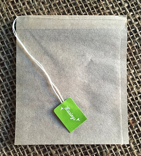 Premium Drawstring Tea Bags For Loose Leaf, Disposable Filters, Non GMO, Strong, No Mess Tag, All Natural Infuser, Compostable, Unbleached Manilla Hemp Paper by Musings Tea (Image #1)