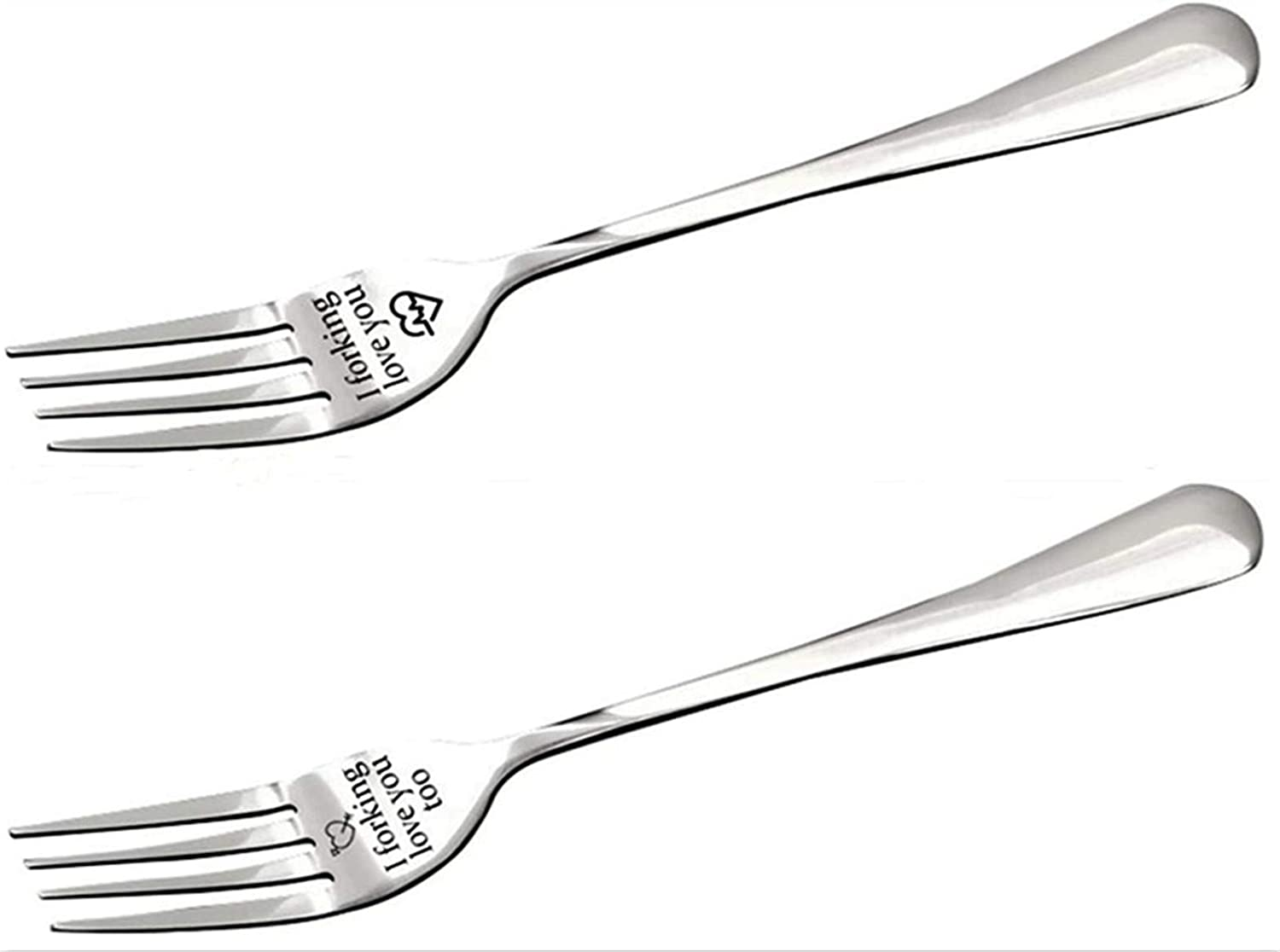 2 PCSI Forking Love You Fork Set Unique Gift for Husband Wife and Family Carving Fork Stainless Steel Personalized Engraved Fork Funny Couple Fork