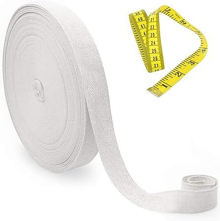 Rollo de 50 m de cinta al bies de algodón de 25 mm de ancho con