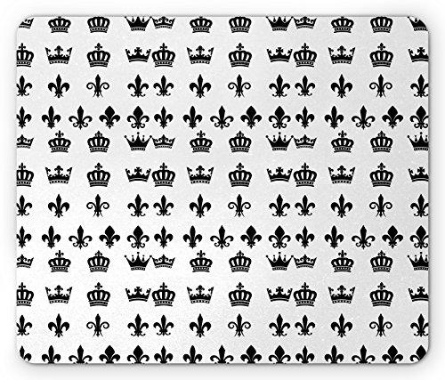 Fleur de Lis Mouse Pad by Lunarable, Various Crown Types Royal Family Nobel Blood Medieval Empire Artsy Design, Standard Size Rectangle Non-Slip Rubber Mousepad, Black White Fleur De Lis Station