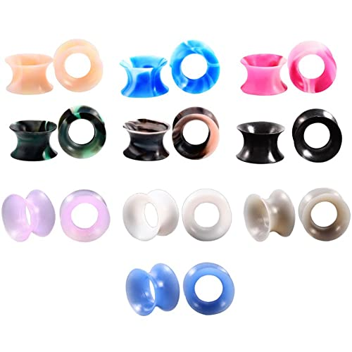"Amazon.com: HuaCan 10Pcs Silicone Ear Stretcher Flesh Soft Mixed Color Ear Plug Tunnel Expander 2g-5/8"": Jewelry"