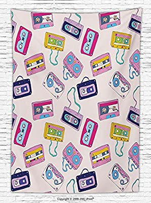 90s Decorations Fleece Throw Blanket Pattern of Cassette Tapes Collection Entertainment Audio Playing Disco DJ Record Throw Blanket