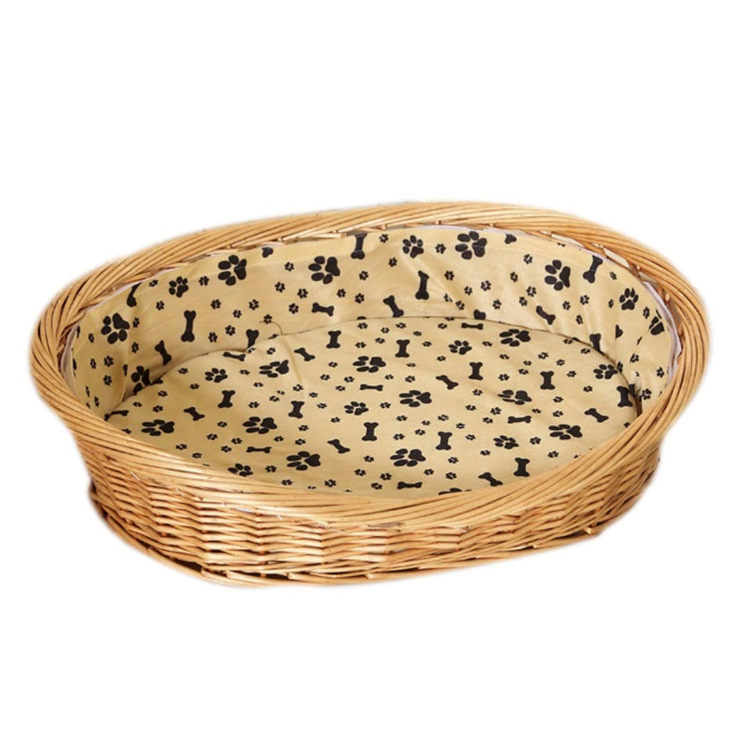 A 75×44cmQz Oval Wicker Dog Bed  Basket with Mat Cushion, Indoor Outddor kennel (color   B, Size   64×50cm)