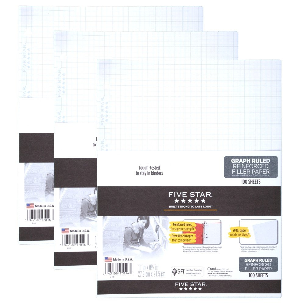 Five Star Filler Paper, Graph Ruled Paper, 100 Sheets/Pack, 11'' x 8-1/2'', Reinforced, Loose Leaf, White, 3 Pack (73187)