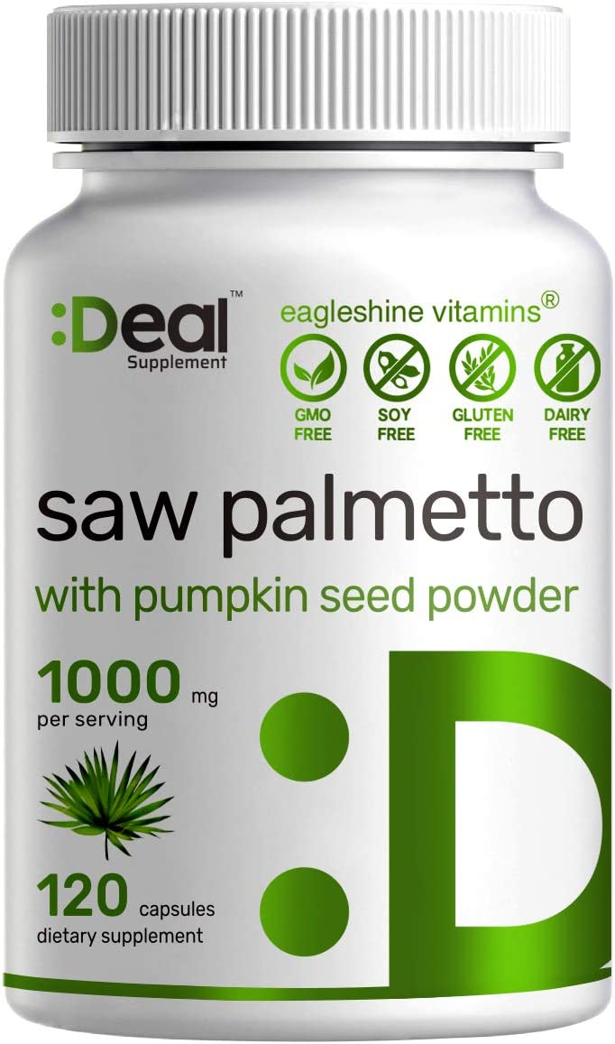 Deal Supplement Saw Palmetto Extract 1000 mg, Plus Pumpkin Seed Powder – Premium Prostate Supplement, Supports Healthy Urination Frequency, DHT Blocker and Prevent Hair Loss