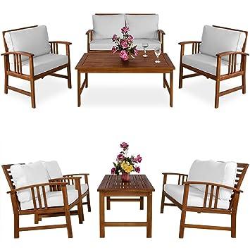 Salon de jardin Atlas en bois d\'acacia Table et chaises Crème ...