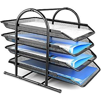 Paper Desk Tray Organizer, ONSON Mesh Desktop, File Tray, 4 Tiers Black Mesh