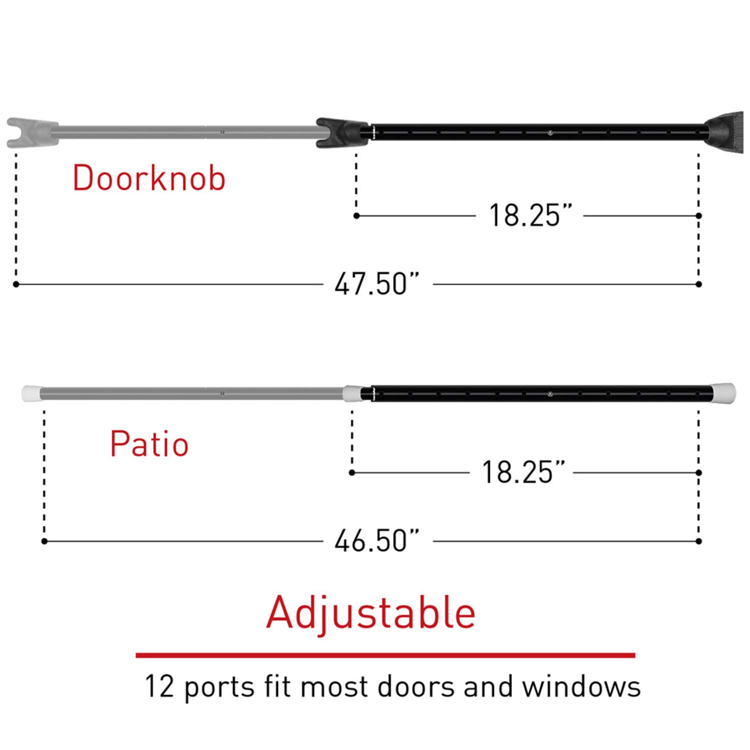 Amazon.com: Securityman 2-in-1 Adjustable Door Knob Jammer & Sliding Patio Door Security Bar - Constructed of High Grade Iron (Black): Baby