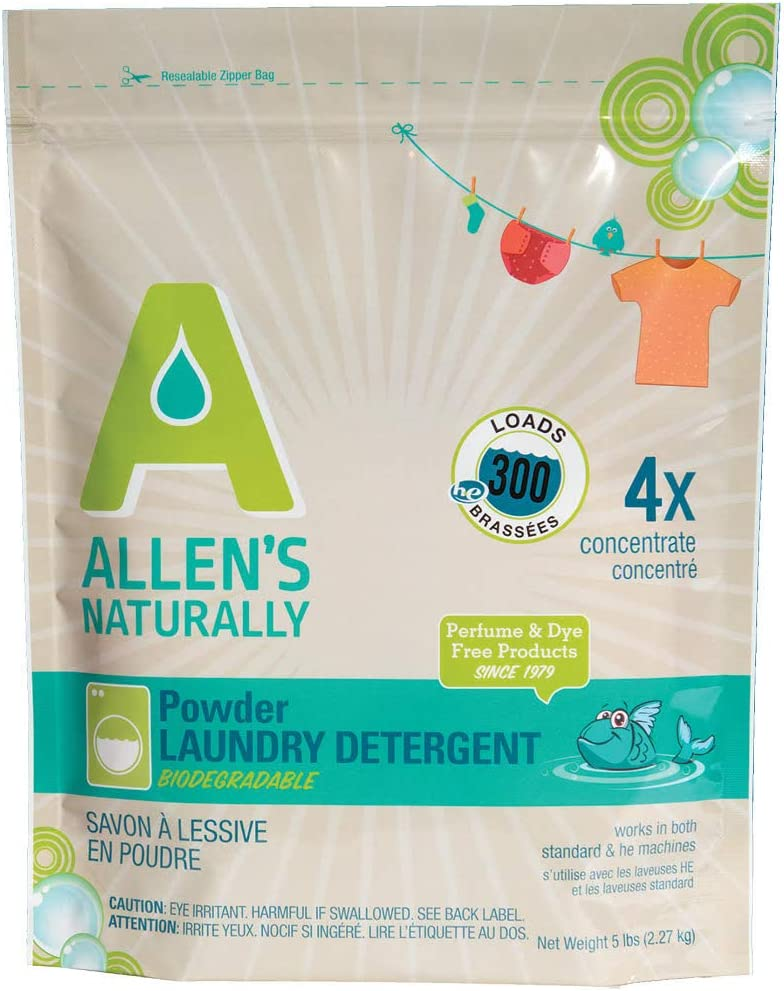 Allen's Naturally Powder Laundry Detergent | 5 lb Bag of Eco Friendly and Natural Formula | Works in standard and HE High Efficiency Washing Machines