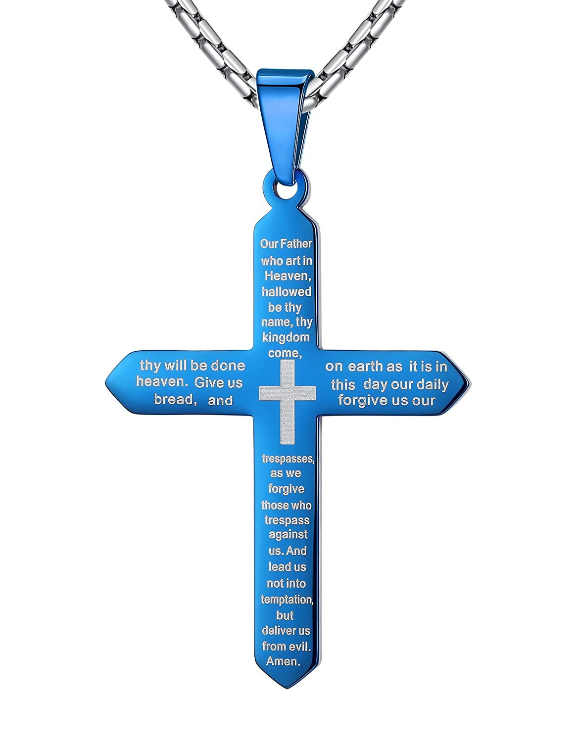 "Aoiy Stainless Steel Our Father Lord's Prayer Cross Pendant Necklace, Unisex, 23"" Chain"