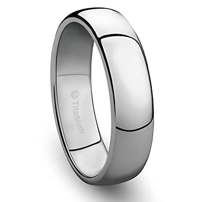 6MM Mens Titanium Ring Classic Wedding Band with Polished Finish