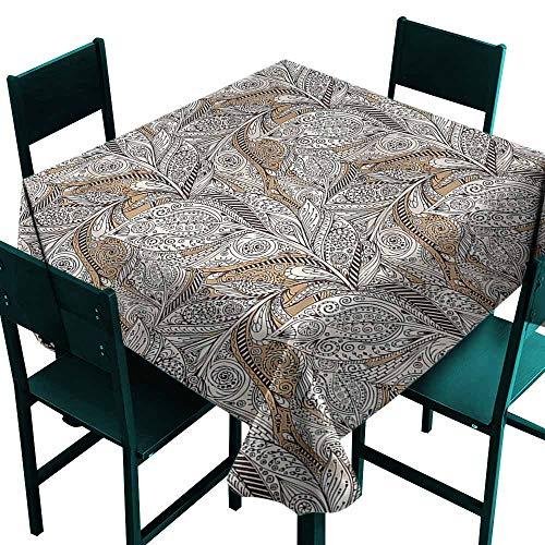 (DONEECKL Washable Tablecloth Paisley Vintage Plant Pattern Batik for Kitchen Dinning Tabletop Decoration W70 xL70)