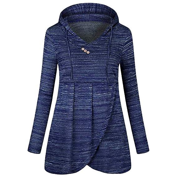 Yvelands Blusas para Mujeres en Oferta Casual Button Camiseta Larga sin Mangas Blusa(Blue,