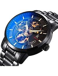 Wristwatches for men self-winding Allochroic Luminous Hands Skeleton Mechanical Black Watch (blue)