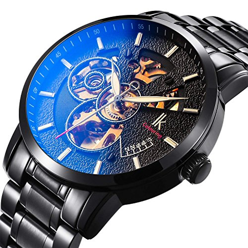 Bestn Wristwatches for men self-winding Allochroic Luminous Hands Skeleton Mechanical Black Watch ()