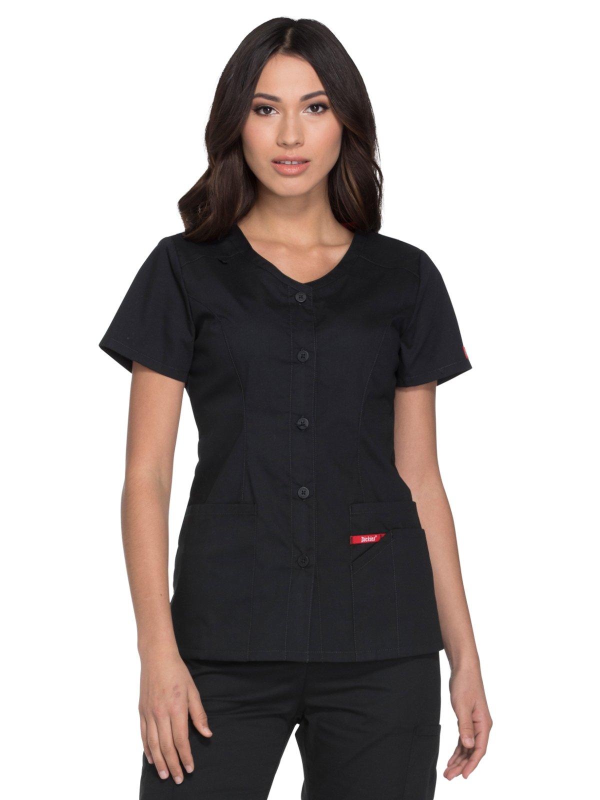 Dickies EDS Signature Women's V-Neck Solid Scrub Top Medium Black